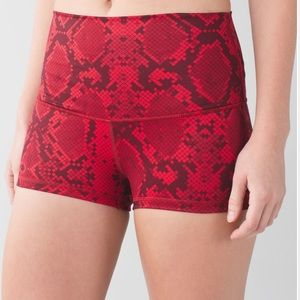 Lululemon Boogie Roll Down Shorts Snake Cranberry